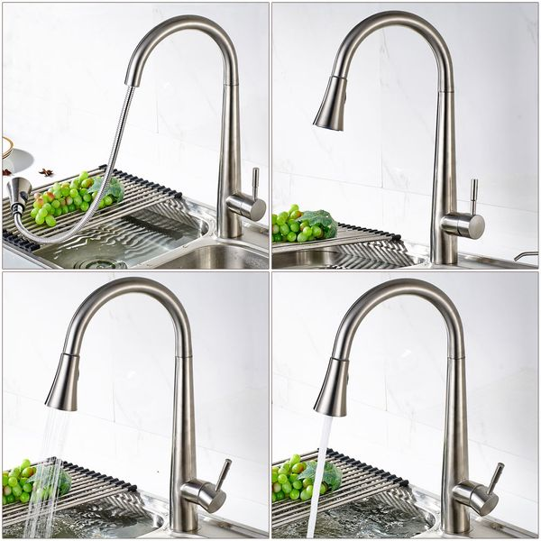 Modern Kitchen Sink Faucet Tap Massive Stainless Steel Rotatable Sanlingo – Bild 3