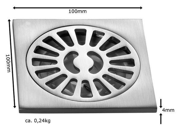 Sanlingo Bodenablauf Edelstahloptik 10x10cm Abfluß Ablauf Keller Garage Balkon – Bild 3