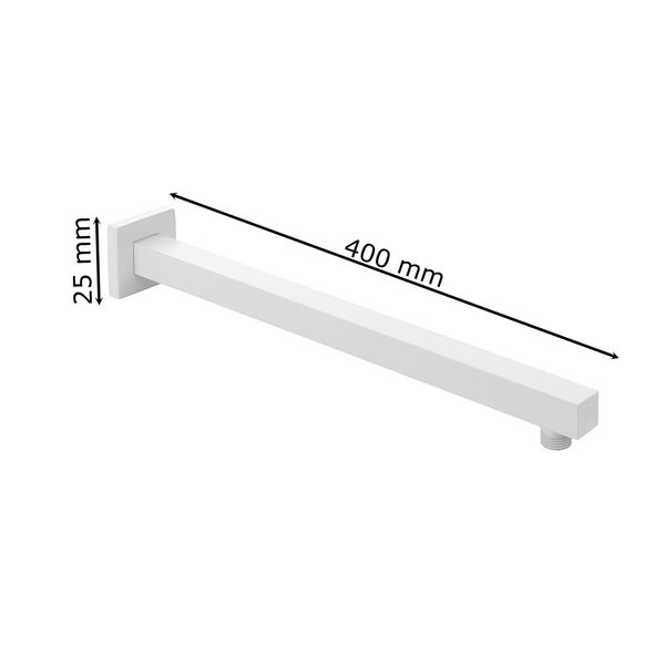 Duscharm Brausearm Wandarm Wandmontage Weiß Eckig 40 cm Sanlingo – Bild 2