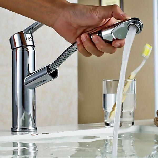 Ausziehbare Waschtisch Badezimmer Armatur Kopfbrause Sanlingo – Bild 3