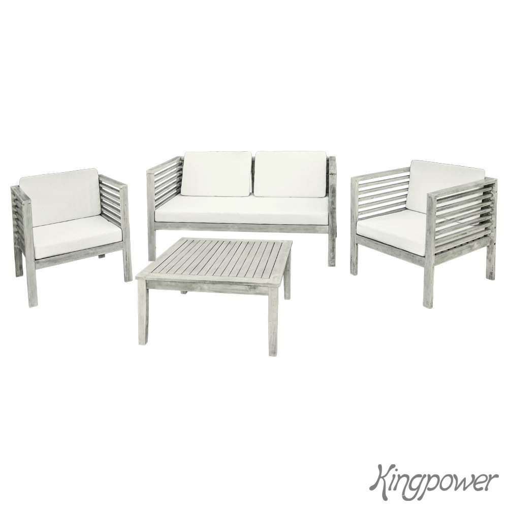 Salon de jardin fauteuil canap table chaise bois 3 couleurs kingpower for Chaise salon de jardin couleur