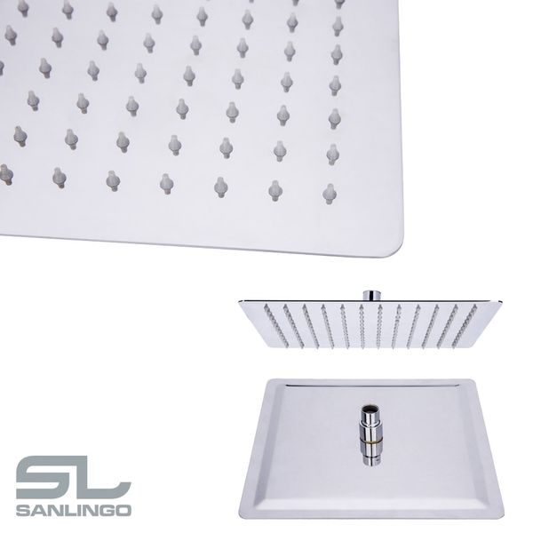 Ultra Thin Overhead Stainless Steel Rain Rainfall Swivel Shower Head Round Square Rectangular Sanlingo – Bild 3