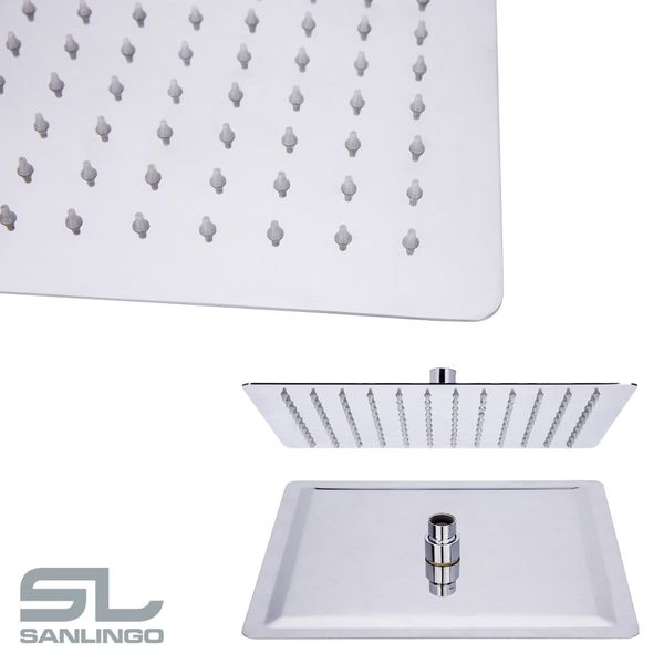 Ultra Thin Overhead Stainless Steel Rain Rainfall Swivel Shower Head Round Square Rectangular Sanlingo – Bild 16