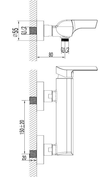 Designer Shower Mixer Taps Sanlingo Milan Line – Bild 2