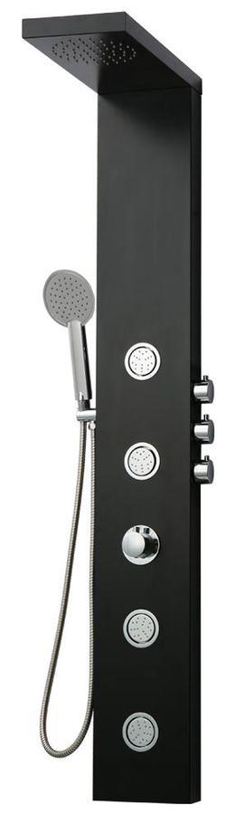 Aluminium Duschsäule Duschpaneel Massagedüsen Regendusche Schwarz Matt Sanlingo – Bild 1