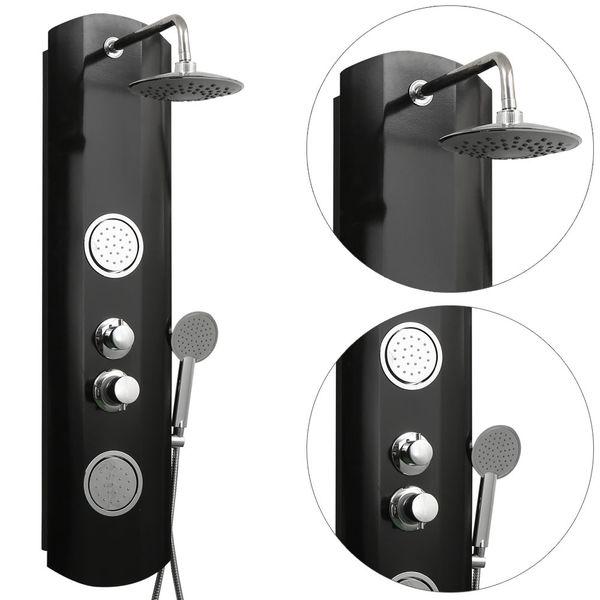 Aluminium Shower Column Shower Panel Rain shower Massagejets Black Sanlingo – Bild 2