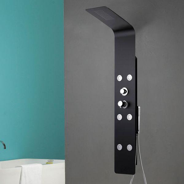 Shower Column Shower Panel Rain Shower Waterfall Massage Jets Aluminium Mat Black Sanlingo – Bild 3