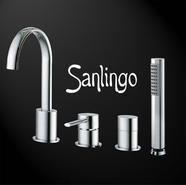 Design 4 Hole Faucet Tap Bathtub with Hand Shower oval Sanlingo