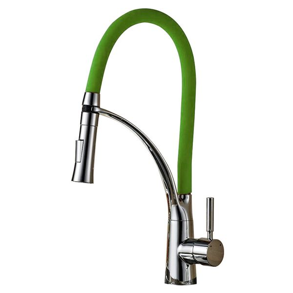 Sanlingo Design Kitchen Sink Mixer Mono Tap Green Chrome Rotatable Mobile 2 Jets – Bild 2