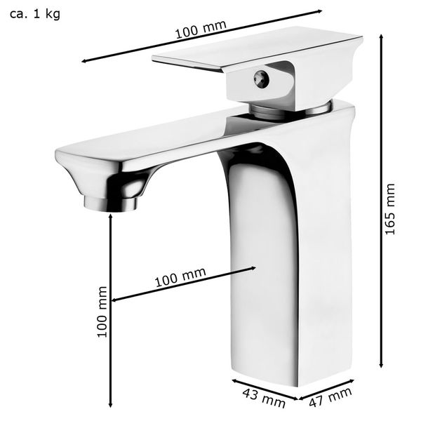 Sanlingo Modern Bathroom Wash Basin Sink Mono Tap Mixer Chrome OLIS Series – Bild 4