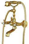 Retro Badewanne Armatur Kreuzgriff Landhaus Messing Gold Sanlingo 001