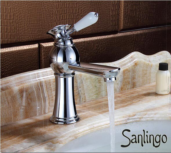 Retro Bath Bathroom Washbasin Washstand Single Lever Water Tap Chrome AIKO Series Sanlingo – Bild 2