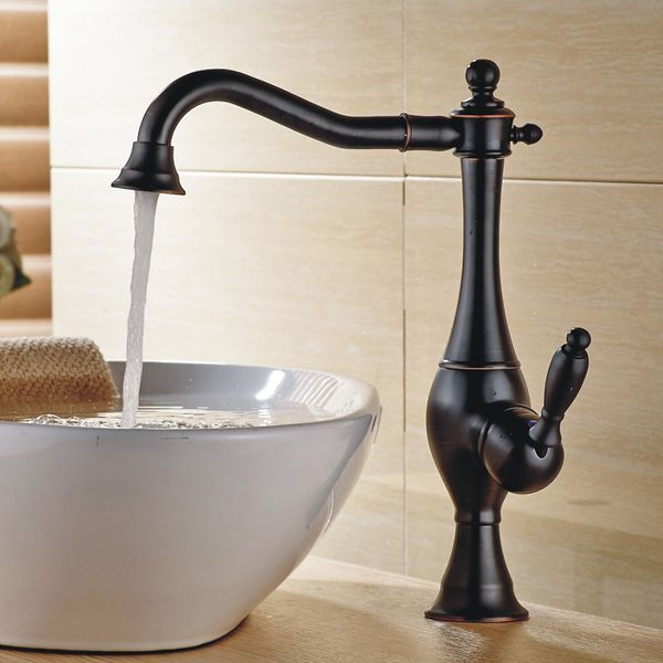 Schwenkbare Retro Waschbecken Waschtischarmatur Einhebelmischer Mischbatterie Schwarz Brüniert Sanlingo – Bild 2