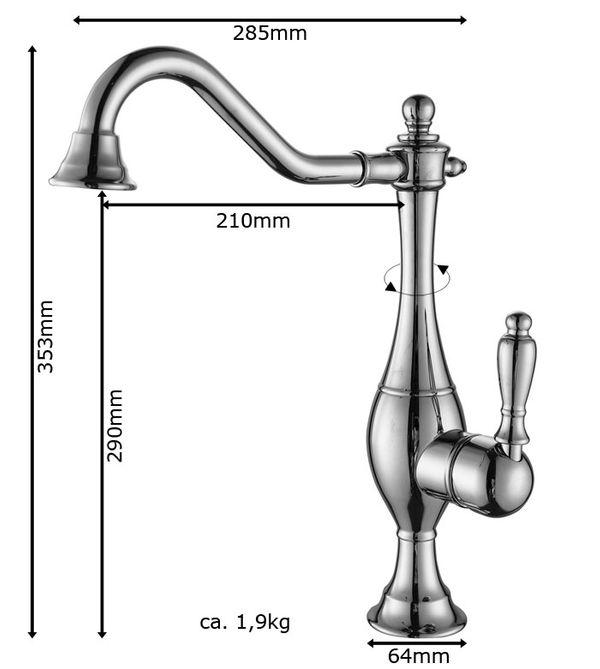 Retro Bathroom Wash Basin Bowl Mono Tap Mixer Sink Rose Gold Swivel Spout Sanlingo – Bild 3