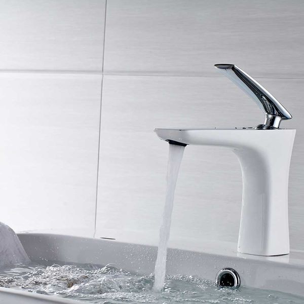Bathroom Wash Basin Sink Mono Monoblock Mixer Tap White Chrome Sanlingo – Bild 2