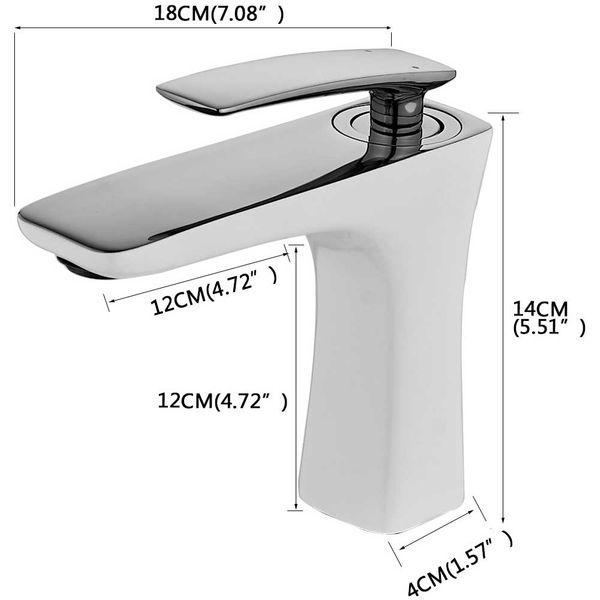 Waschtischarmatur Armatur Einhebel Wasserhahn Mischbatterie Weiss Gold Sanlingo – Bild 3
