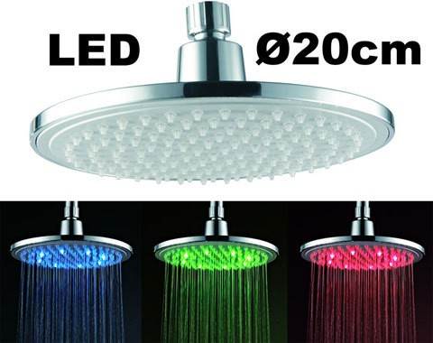 Complete Shower Set LED Round Rain shower Concealed Diverter Tap Hose Chrome Sanlingo – Bild 3
