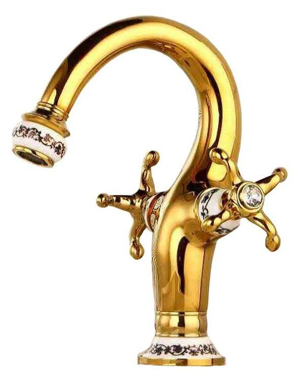 Retro Bad Waschbecken Zweigriff Kreuzgriff Mischer Wasserhahn Armatur Gold Porzellan Kristall Sanlingo