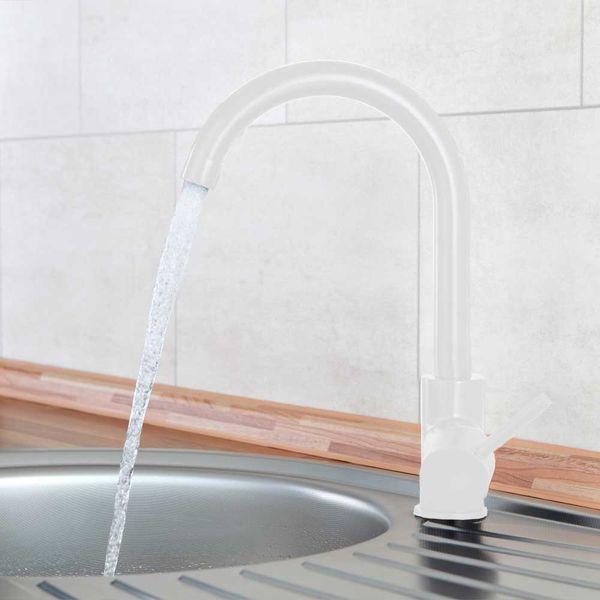 Design Modern Kitchen Mixer Sink Single Lever Tap Valve White Rotatable Sanlingo – Bild 2
