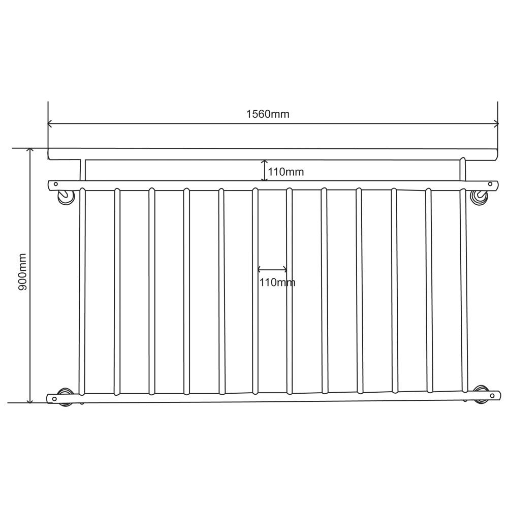 V2Aox Franz/ösischer Balkon Gel/änder Balkongel/änder 90 x 100-225 cm Schwarz Wei/ß Anthrazit Farbe:Wei/ß Gr/ö/ße:100 x 90 cm