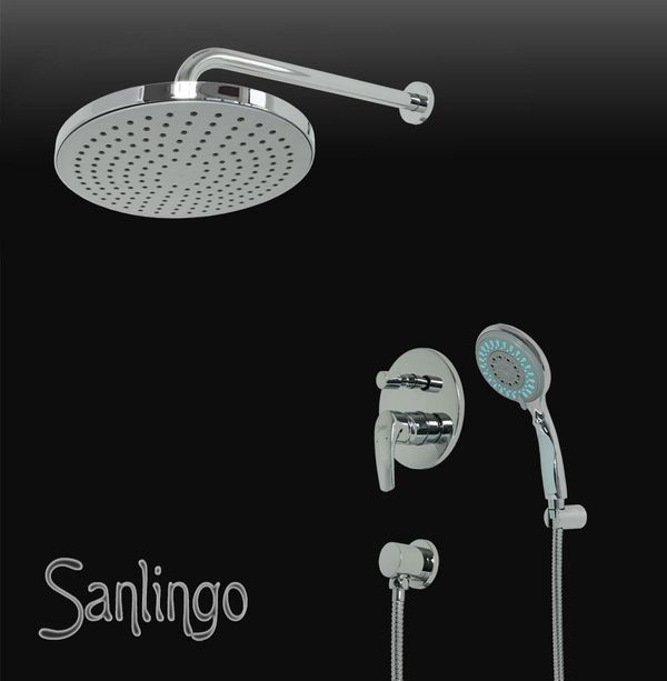 Complete Shower Set Rain shower Concealed Diverter Tap Hose Chrome Oval Sanlingo – Bild 1