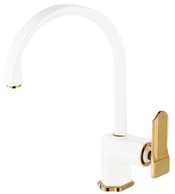 Modern Sink Kitchen Single Lever Water Tap Mixer White Gold Sanlingo – Bild 1