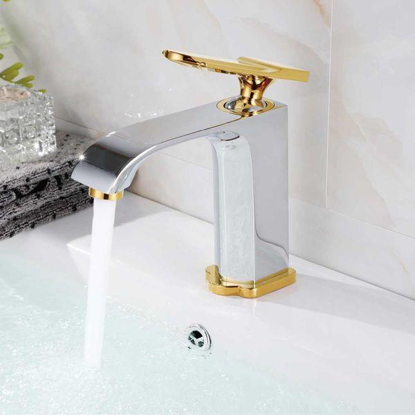 Bath Mono Tap Mixer Sink Chrome Gold PALA Series Sanlingo – Bild 2