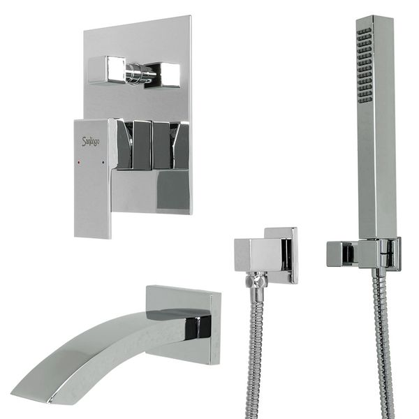 Complete Set for Bathtub Concealed Diverter Tap Chrome Sanlingo – Bild 1