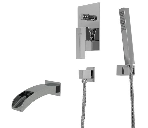 Chrome Complete Set Bathtub Concealed Diverter Fitting Box Tap Sanlingo Angled – Bild 1