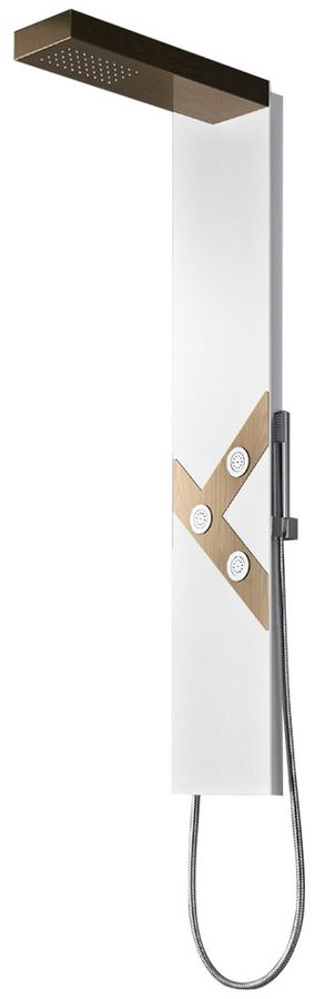 Shower Panel Rain Shower Massage Aluminium White / Brown Wood Optic Sanlingo – Bild 1