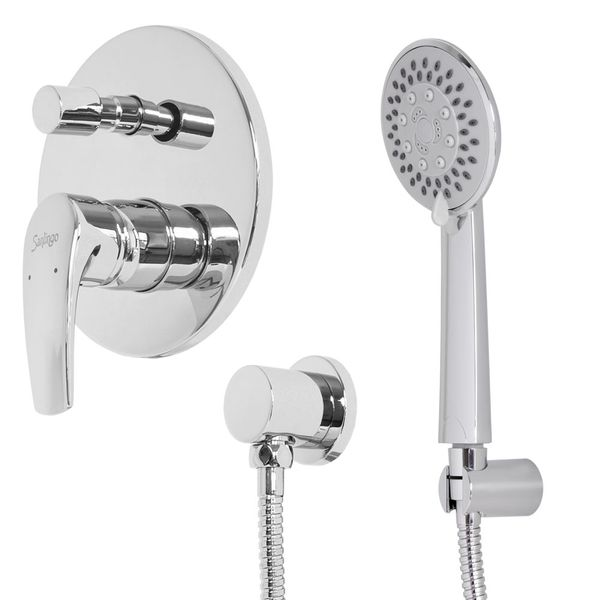 Chrome Bath Bathroom Shower Bathtub Set Hand shower Concealed Diverter Water Tap Hose Sanlingo – Bild 1