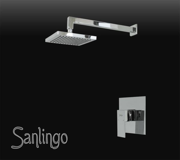Bath Concealed Shower set Rain Shower Arm Diverter Tap Angled Sanlingo Chrome – Bild 1
