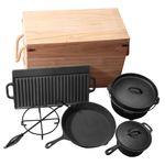 Gusseisen Set 9teilig Dutch Oven Feuertopf Camping Grill Lagerfeuer Topf mit Deckelheber eingebrannt Grillmaster 001