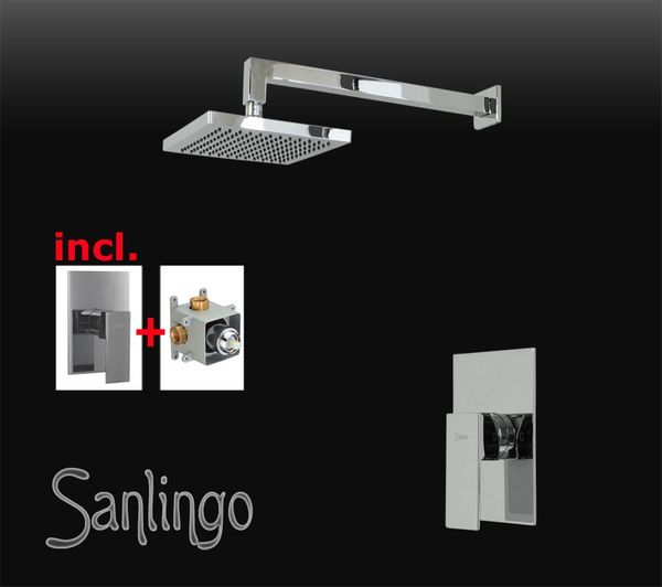 Chrome Shower Set Rain Shower Concealed Diverter Tap Fitting Box Sanlingo Angled – Bild 1