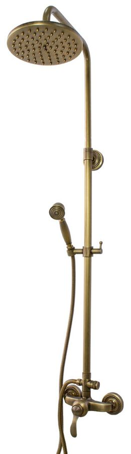 Retro Complete Bath Shower Set Water Tap Mixer Twin Head Antique Brass Sanlingo – Bild 1