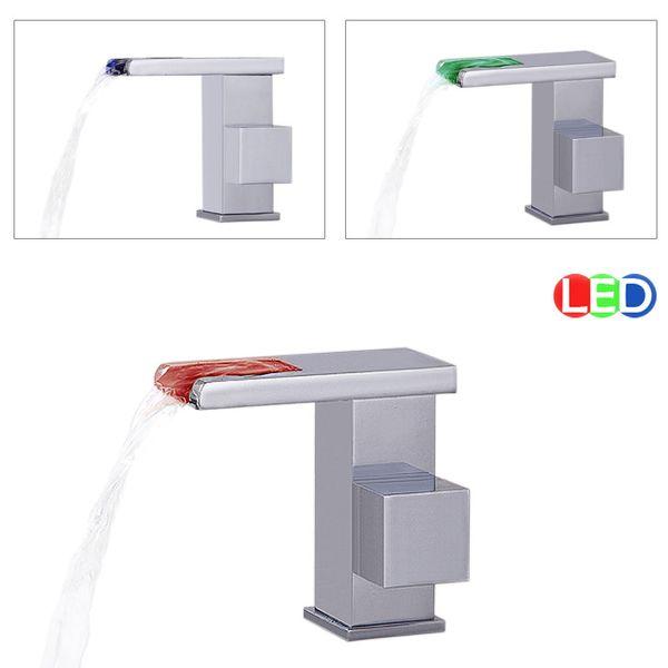 LED Bad Waschbecken Waschtisch Armatur Einhebel Wasserhahn Chrom Sanlingo – Bild 2