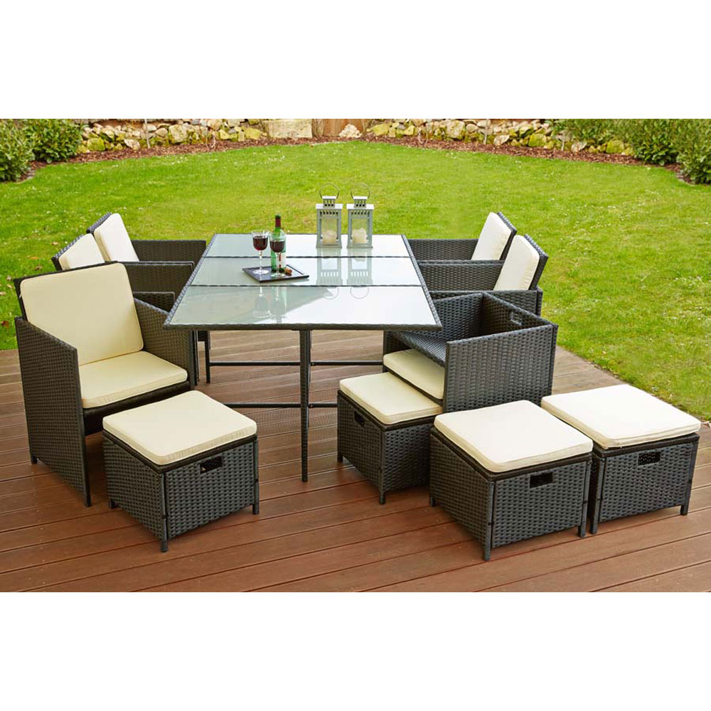 kingpower poly rattan sitzgruppe sitzgarnitur gartenm bel garten 6 sessel und 4 hocker tisch. Black Bedroom Furniture Sets. Home Design Ideas