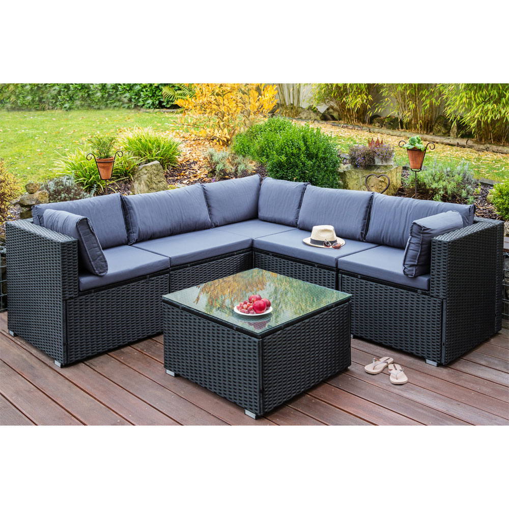 schwarz poly rattan sitzgarnitur sitzgruppe gartenm bel sofa lounge garten mit tisch kingpower. Black Bedroom Furniture Sets. Home Design Ideas
