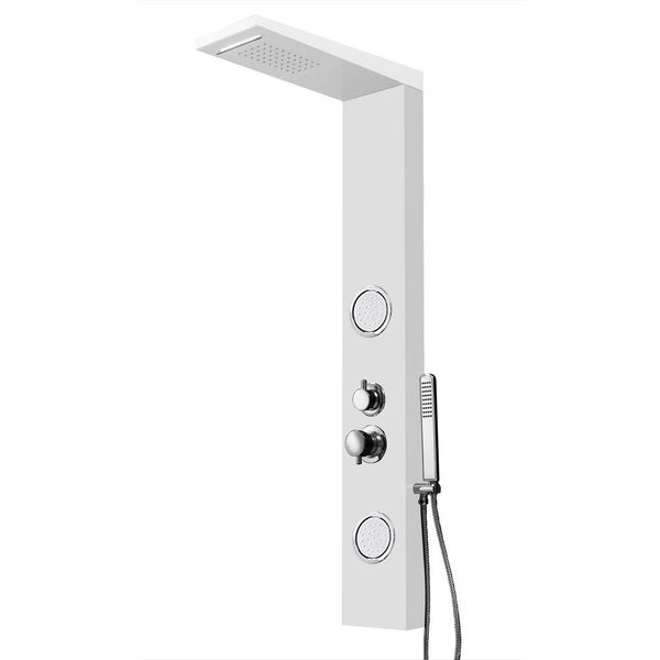 White Shower Panel Shower Column Waterfall Massage Aluminium Sanlingo – Bild 1