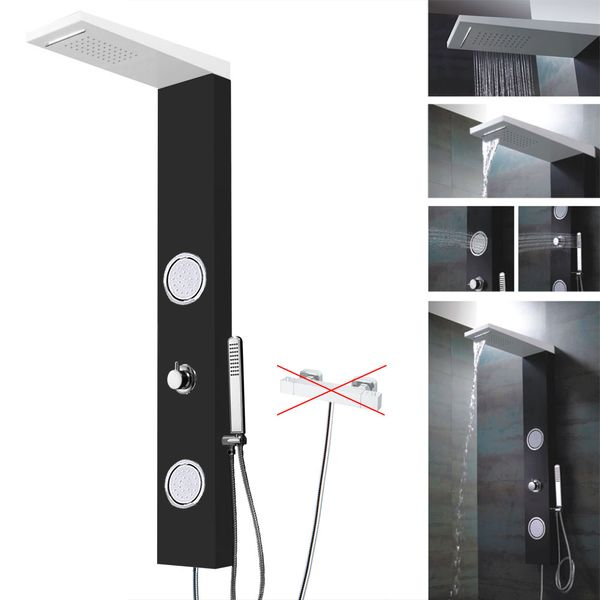 Aluminium Shower Panel Column Mixer Waterfall Massage Black White Sanlingo – Bild 3
