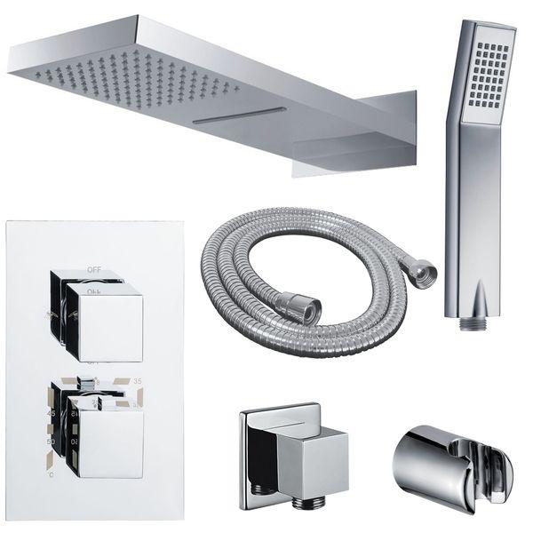 Komplettes Dusch Set Wasserfall und Regenschauer 3Wege Unterputz Thermostat Umsteller Chrom Sanlingo