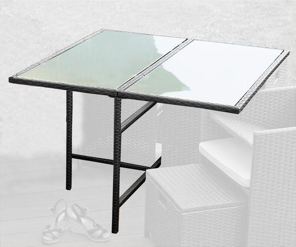 Poly Rattan Gartenmöbel Garten Tisch Schwarz Glas Kingpower