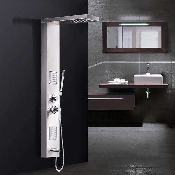 Stainless Steel Brushed Nickel Shower Column Panel Rain Shower Massage Waterfall Sanlingo – Bild 1