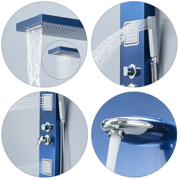 Stainless Steel Blue Shower Column Panel Rain Shower Massage Waterfall Sanlingo – Bild 3