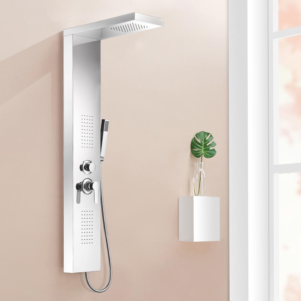 acier inoxydable colonne de douche de pluie jets de massage sanlingo ebay. Black Bedroom Furniture Sets. Home Design Ideas
