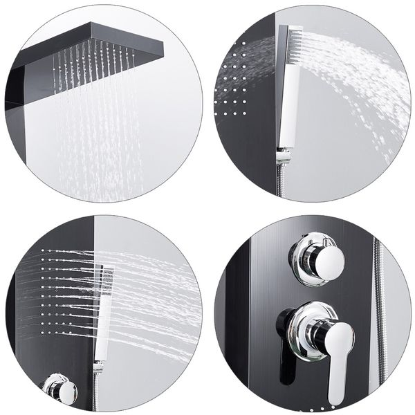 Stainless Steel Shower Column Panel Rain Shower Massage Jets Black Anthracite Sanlingo – Bild 4
