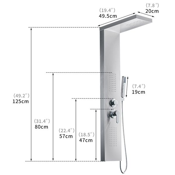 Stainless Steel Shower Column Panel Rain Shower Massage Jets Black Anthracite Sanlingo – Bild 5