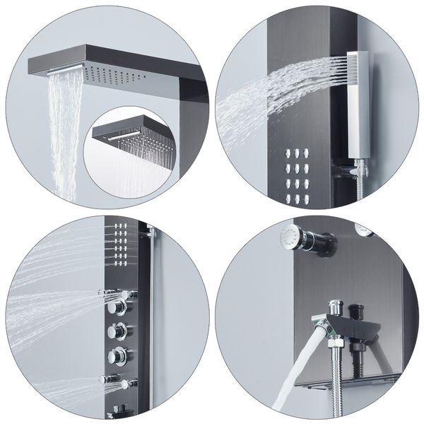 Stainless Steel Shower Column Panel Rain Shower Waterfall Massage Black Anthracite Sanlingo – Bild 4