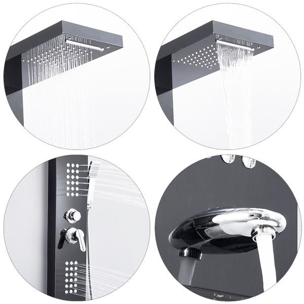 Stainless Steel Shower Column Panel Waterfall Rain Shower Massage Dark Texture Anthracite Sanlingo – Bild 4