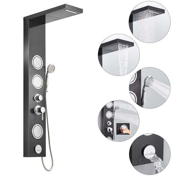 Stainless Steel Shower Column Panel Waterfall Massage Rain Shower 3 Colours Sanlingo – Bild 3
